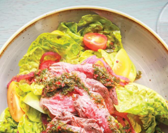 Chop House steak salad with chimichurri and pickled red onions recipe