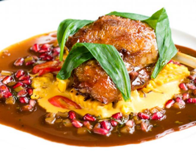 Spiced duck leg with creamed sweetcorn and pickled rhubarb recipe