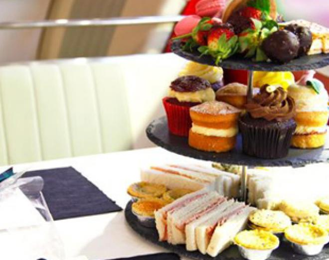 Afternoon tea aboard the Red Bus Bistro